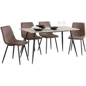 Carryhome: Tischgruppe, Schwarz, Eiche, Dunkelbraun