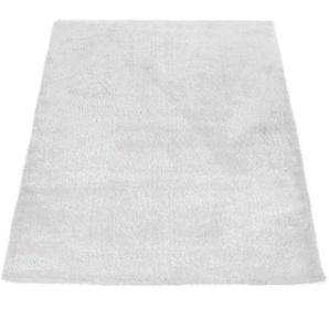 Paco Home Edler Teppich Shaggy Hochflor Einfarbig Flauschig Glänzend In Weiß