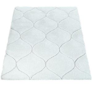 Paco Home Hochflor Teppich Wohnzimmer Shaggy 3D Effekt Geometrisches Muster Modern Weiss