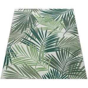Paco Home In- & Outdoor Teppich Flachgewebe Jungel Gecarvtes Florales Palmen Design Grün
