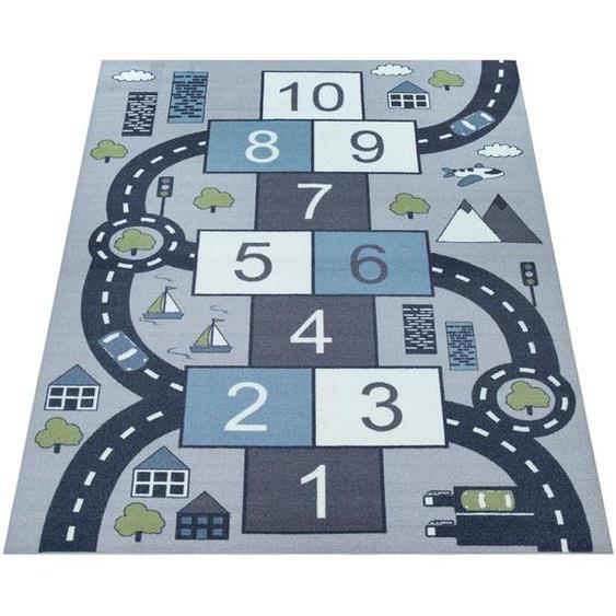 Paco Home Kinder-Teppich Für Kinderzimmer, Spiel-Teppich Mit Hüpfkästchen und Straßen, Grau