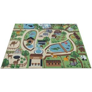Paco Home Kinder-Teppich Für Kinderzimmer, Spiel-Teppich, Zoo Mit Tiger, Bär, Löwe, Bunt