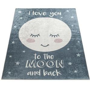Paco Home Kinderteppich Aleyna 103, rechteckig, 6 mm Höhe, Kinder Design, niedliches Mond Motiv mit Print, Kinderzimmer B/L: 180 cm x 280 cm, 1 St. grau Kinderteppiche Teppiche