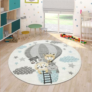 Paco Home Kinderteppich Cosmo 343, rund, 18 mm Höhe, Kinder Design, niedliches Tier Motiv in Pastell-Farben, Kinderzimmer Ø 160 cm, 1 St. beige Bunte Kinderteppiche Teppiche