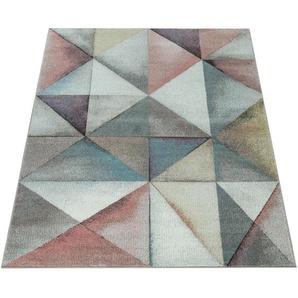 Paco Home Kurzflor Teppich Trendige Pastellfarben Modernes Triangel Design Mehrfarbig Bunt