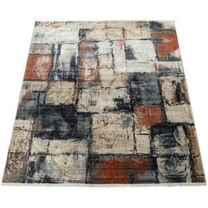 Paco Home Kurzflor Wohnzimmer Teppich Abstraktes Design Modern Mosaik Optik Bunt