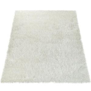 Paco Home Moderner Wohnzimmer Shaggy Hochflor Teppich Soft Garn In Uni Weiß