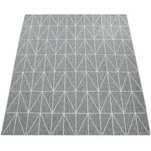 Paco Home Outdoor Indoor Grau Teppich 3D Optik Skandi Look Skandinavisches Design Kurzflor