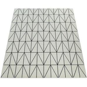 Paco Home Outdoor Indoor Teppich Weiß 3D Optik Bordüre Skandinavisches Design Kurzflor