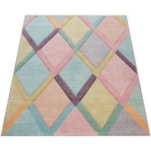 Paco Home Teppich Bunt Wohnzimmer Rauten Muster Pastellfarben 3-D Design Weich Kurzflor