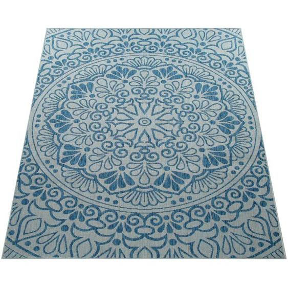 Paco Home Teppich Coco 205, rechteckig, 4 mm Höhe, Flachgewebe, In- und Outdoor geeignet, Wohnzimmer B/L: 80 cm x 200 cm, 1 St. blau Wohnzimmerteppiche Teppiche nach Räumen