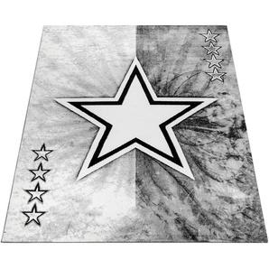 Paco Home Teppich ECE 995, rechteckig, 14 mm Höhe, Kurzflor mit Stern Design, Wohnzimmer B/L: 160 cm x 220 cm, 1 St. grau Kinder Kinderteppiche Motiv Teppiche