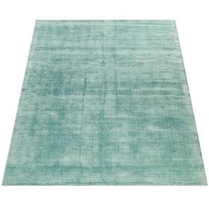 Paco Home Teppich Handgefertigt Hochwertig 100 % Viskose Vintage Trend Farbe Pastell Grün