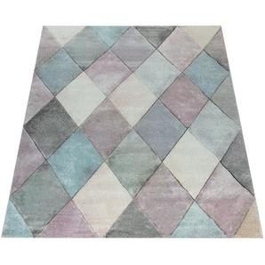 Paco Home Teppich Wohnzimmer Bunt Pastellfarben Rauten Muster 3-D Design Kurzflor Robust