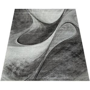 Paco Home Teppich Wohnzimmer Grau Schlafzimmer Abstraktes Muster Modernes Design Kurzflor