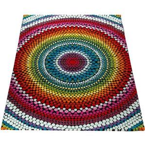 Paco Home Wohnzimmer Teppich Bunt Kurzflor Retro Muster Abstraktes Design Boho Stil 3-D