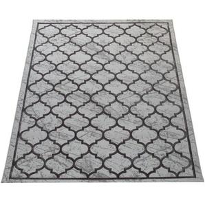 Paco Home Wohnzimmer-Teppich, Kurzflor Mit Marokkanischem Muster, 3D-Look In Grau