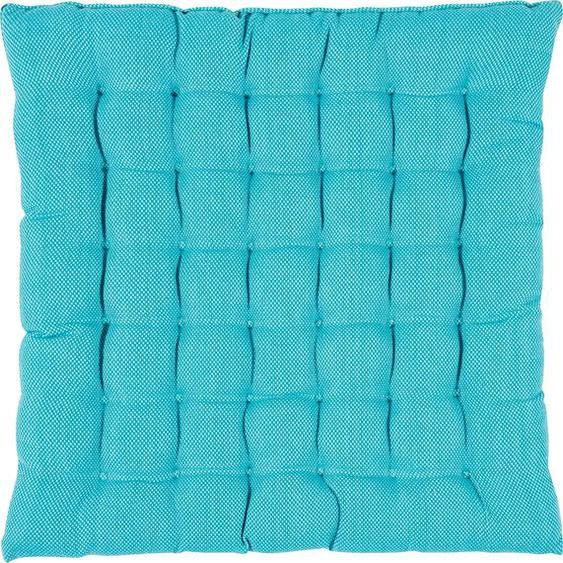 PAD Sitzkissen RISOTTO, in unifarben 1x 40x40 cm, Baumwolle, 3 cm blau Stuhlkissen Kissen Kopfkissen
