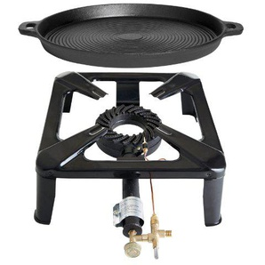 Paella World International Gaskocher Hockerkocher-Set 1 mit Gusseisenpfanne, Mehrfarbig, 2-teilig