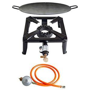 Paella World International Gaskocher Hockerkocher-Set mit Eisenwok und Gasanschluss-Set Mehrfarbig, 3-teilig