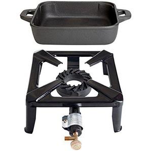 Paella World International Gaskocher Hockerkocher-Set mit Gusseisenpfanne, eckig, Mehrfarbig, 2-teilig