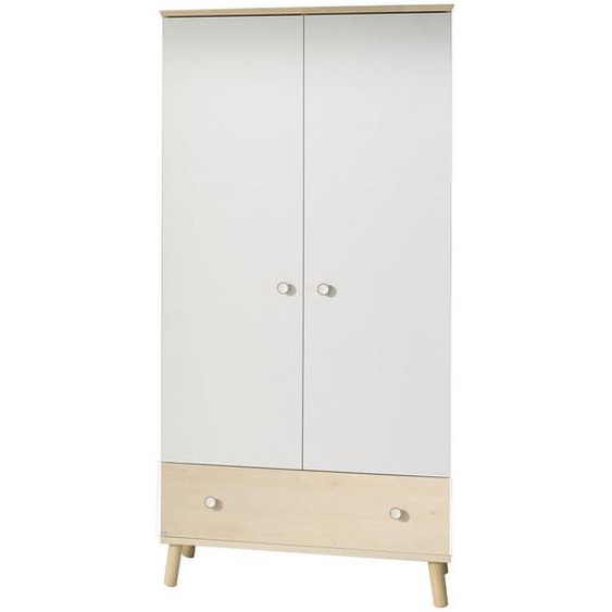 Paidi Drehtürenschrank , Weiß, Braun , Holzwerkstoff , Birke , massiv , 4 Fächer , 1 Schubladen , 96.4x198.7x56.3 cm