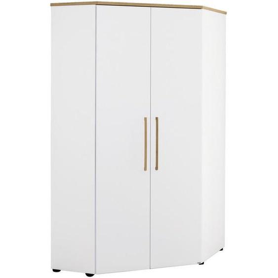 Paidi Eckkleiderschrank Weiß, Braun , Holzwerkstoff , massiv , 6 Fächer , 101.9x206x125.9 cm