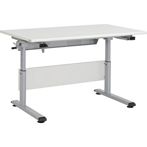 Paidi: Schreibtisch, Silber, Beige, B/H/T 120 53-79 70