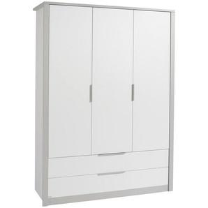 Paidi: Kleiderschrank, Holzwerkstoff, Grau, Weiß, B/H/T 148,5 202,8 56,2