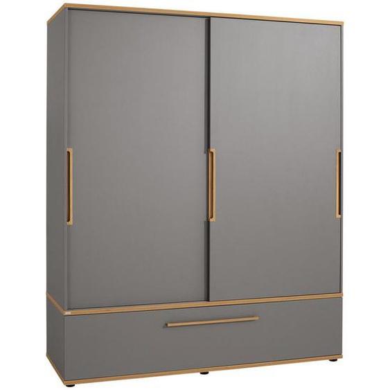 Paidi Schiebetürenschrank , Grau, Braun , Holzwerkstoff , 7 Fächer , 1 Schubladen , 164x200x62 cm