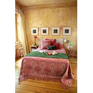 Paisleydecke rot-grün - bunt - 100 % Baumwolle - Tagesdecken & Quilts - Überwürfe & Sofaüberwürfe