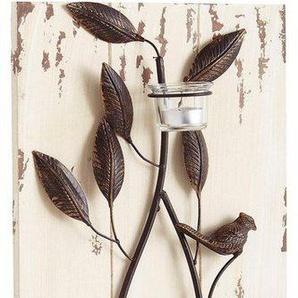 Home affaire Wandpaneel mit Teelichthaltern und Vögelchen