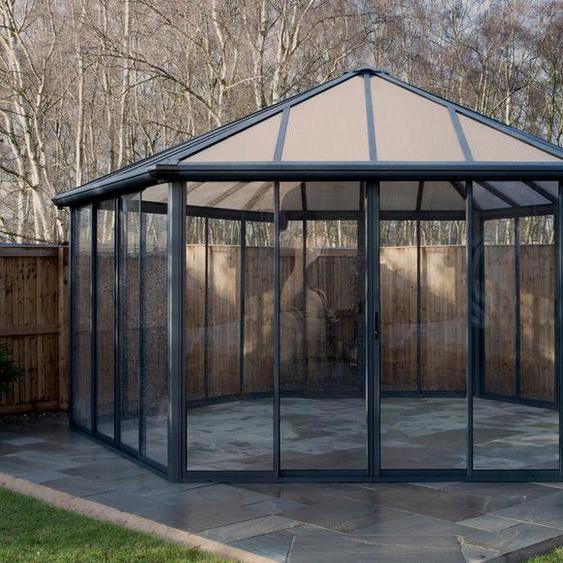 Palram Wintergarten »Garda«, grau, Aluminiumgestell, Polycarbonat-Dach, Doppelschiebetüren