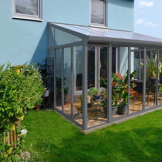 PALRAM Wintergarten Veranda »San Remo«, grau, witterungsbeständig, UV-Schutz, verriegelbar