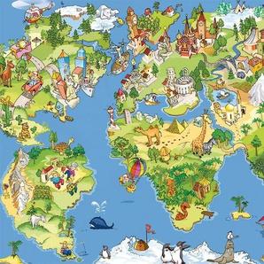 PAPERMOON Fototapete »Kids World Map«, Vlies, 5 Bahnen, 250 x 180 cm