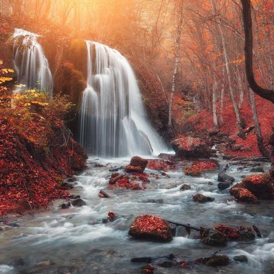 Papermoon Fototapete »Mountain Sunset Waterfall«, glatt