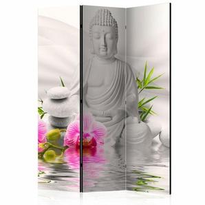 Paravent Buddha und Orchideen