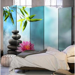 Paravent Seerose und Zen-Steine