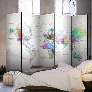 Paravent Weltkarte mit 5 Paneelen