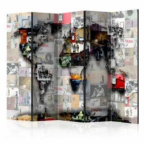 Paravent World Map Banksy mit 5 Paneelen