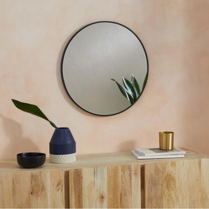Parton runder Wandspiegel (o 60 cm), Mattschwarz