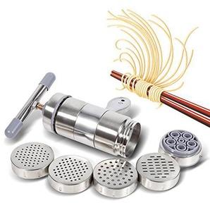 Pastamaker, Tragbare, Manuell Betriebene Edelstahl Nudelmaschine für Nudelpresse Druckmaschinen mit 5 Formen