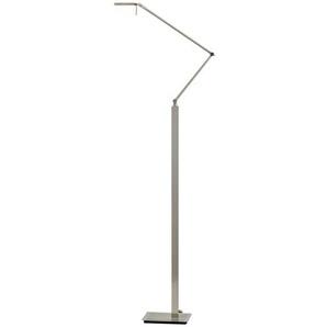 Paul Neuhaus LED- Stehleuchte, 1- flammig, nickel matt, Kopf eckig ¦ silber ¦ Maße (cm): H: 166