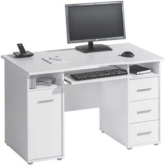 PC Schreibtisch in Weiß 150 cm breit