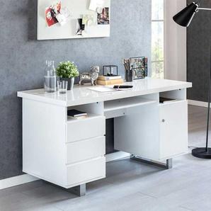 PC Schreibtisch in Wei� Hochglanz und Chromfarben 140 cm breit