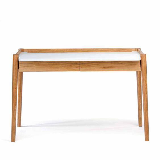 PC Tisch in Weiß Eiche furniert modern
