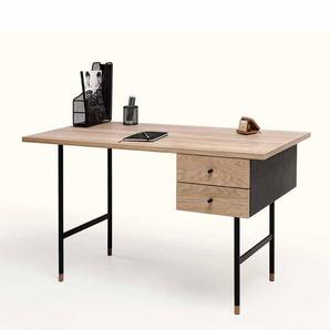 PC Tisch mit Eiche Echtholz furniert modern