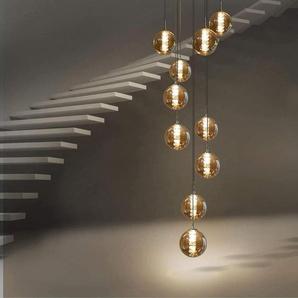 Pendelleuchte esstisch Pendellampe Höhenverstellbar Kronleuchter Hängeleuchte 10-Flammig aus Glas in Farbe Bernstein Küchen Wohnzimmerlampe Schlafzimmerlampe Flurlampe [Energieklasse A++] - ZMH