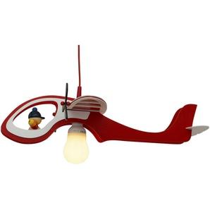 Pendelleuchte Flugzeug Holz rot, weiß ¦ mehrfarbig ¦ Maße (cm): B: 60 H: 15