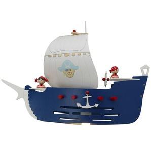 Pendelleuchte Piratenschiff Holz blau, weiß ¦ mehrfarbig